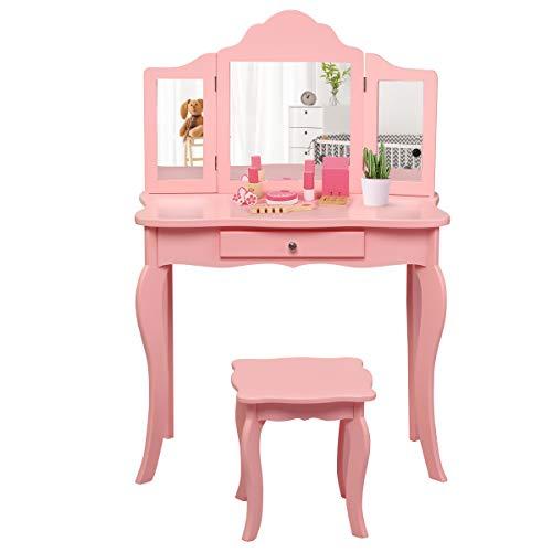 COSTWAY Kinder Schminktisch mit Hocker und Abnehmbarer Spiegel, Mädchen Frisiertisch Holz, Kindertisch mit Schublade, Spiegeltisch 70x34x103cm (Rosa)