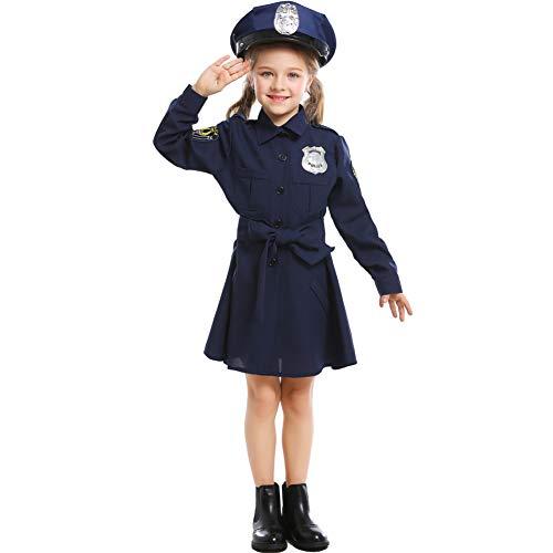 NIMIFOOL Disfraces para niños Material de poliéster Vestido de Disfraz de policía para niña, Familia de Padres e Hijos, Adecuado para la Fiesta Escolar de Halloween Cosplay,XS
