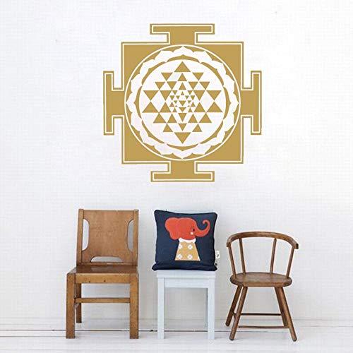 Resumen Sri Yantra Geometría Sagrada Triángulo Círculo Madala Flor Etiqueta de la pared Calcomanía de vinilo Dormitorio Sala de estar Estudio de yoga Oficina Decoración para el hogar Mural