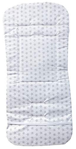 Mercato House - Colchoneta Coche de paseo Reversible Universal/Silla de Paseo/Carro de Bebe/100% Algodón, Color Blanco - Gris (Blanco - Gris, Estrellas)
