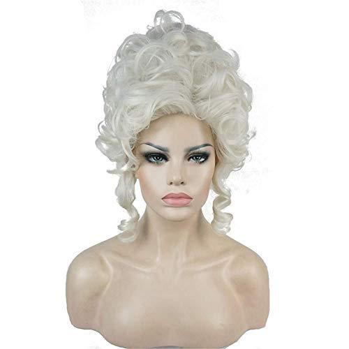 HJRD Perücke, Klassische Perücken aus dem 18. Jahrhundert für Damen Damen Adult Short White Curly Halloween Cosplay Zubehör Synthetisches Vollhaar