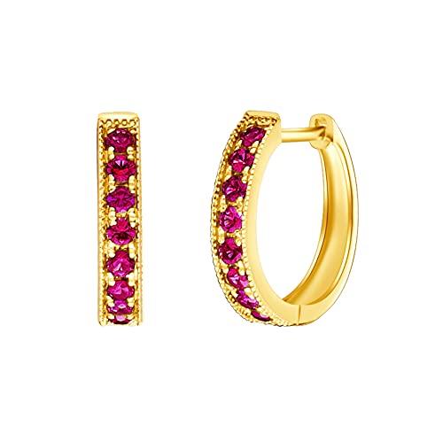 Pendientes de Aro Pequeños Ronda para Mujer en Oro Amarillo 14 Quilates 585 con 0.4 cttw Rubí Rojo Natural Aretes Pendientes Hoops Joyas para Mujeres Niñas - Diámetro: 12.5 mm