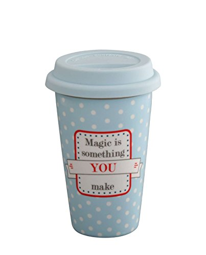 Krasilnikoff - Kaffee to Go Becher - Travel Mug - Magic is - Porzellan, Silikon - 350 ml - Hellbla
