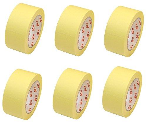 6 Rollen Flachkrepp Abklebeband Malerkrepp Malerband 50mm x 50m bis 60°C (EUR 0,05 / m)