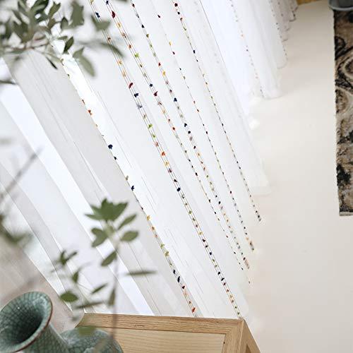 Cortina blanca,Cortina transparente/Cortina de bordado/rayas/Estilo nórdico/Fresca pequeña/Transpirable/Semisombreado/para/dormitorio/balcón/sala de estar/1 pcs