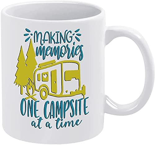 Foto personalizada Diy Novedad Divertida Estética Taza de café de cerámica blanca Taza de té Regalo con refranes Making Memories Un campamento a la vez para hombres, mujeres, mamá, papá, maestro, niño