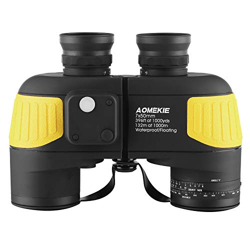 Aomekie Marine Binoculars for Adults 7X50 with Low Light Vision Compass Rangefinder Fogproof Waterproof BAK4 Prism Lens Military Binocular for Navigation Boating Birdwatching and Hunting