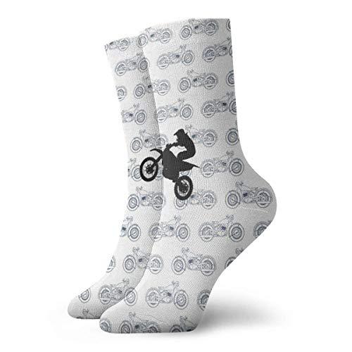 Drempad Calcetines de Vestir Unisex Retro Motorcycle Pattern Funny Polyester Crew Socks 11.8 Inch