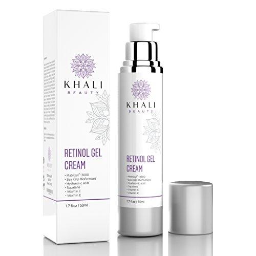 Khali Beauty Retinol Moisturizer Gel Cream for Face and Eye Area-Anti-Wrinkle Facial Night Cream-All Natural, Peptides, Hyaluronic Acid,Sea Kelp Bioferment,Matrixyl 3000,Vitamin C&E- 1.7oz