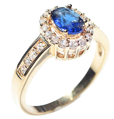 High Class Gold Filled UK Guarantee: 3µ Ring. Set With A Blue Sapphire Created Diamond Surrounded By Simulated Diamond Brilliant Rounds. 2.9GR Total Ring Weight.