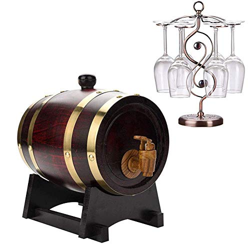 GPWDSN Whiskyfass Tisch, Whiskyfass, Vintage Wood Oak Weinspender, zur Aufbewahrung von Whisky, Bier, Wein, Bourbon, Brandy (A, 5L)