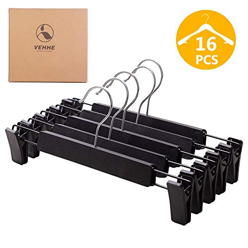 VEHHE Pants Hangers Skirt Hangers, 16 Pack Black Plastic Dress Trousers Pant Hanger with Non-Slip Big Clips and 360 Rotatable Hook (Black) (Black)