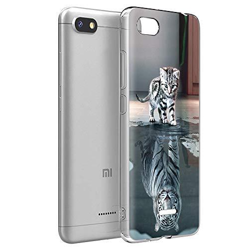Zhuofan Plus Hülle Xiaomi Redmi 6A, Silikon Transparent Schutzhülle mit Muster Motiv Handyhülle Weiche TPU 360 Bumper Kratzfest Durchsichtige Hülle Cover für Xiaomi Redmi 6A 5,45