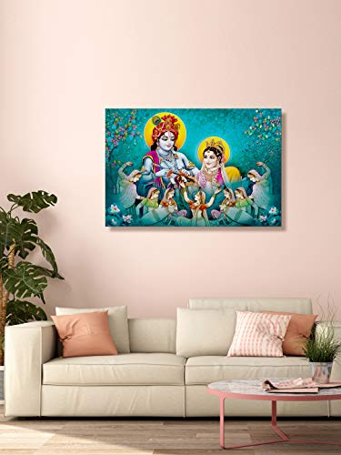 999Store Printed Radha Krishan and Dancing Gopis Painting Wall Art (Canvas_18X30 Inches_Multi) LP18300139