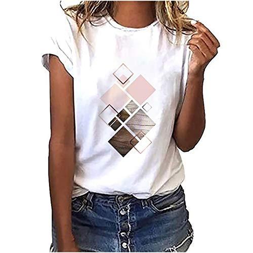 Camiseta básica para mujer y adolescente, color blanco, elegante, verano, multicolor, geométrica, informal, cuello redondo, manga corta, informal, cómoda, para deporte, túnica D-blanco. M