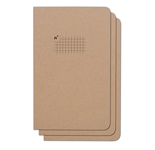 Northbooks Graph Paper Notebook Journal | 5x8 Grid Notebooks | Soft Cover Eco-Friendly Premium Recycled Cream Color Paper 96-Pages | Made in USA | 3-Pack