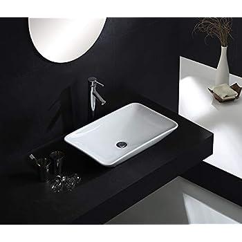 Keramik Aufsatz-Waschbecken Lotus Effekt Wasch-Schale eckig weiß 580*420*115mm