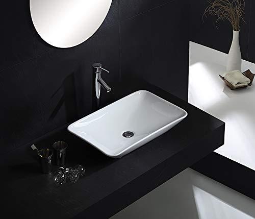 Waschbecken Design Aufsatzwaschbecken Handwaschbecken Waschtisch Keramik 585 mm x 365 mm x 100 mm (Nova) von Art-of-Baan®