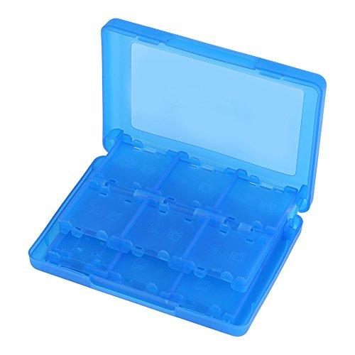 28 en 1 Caja de Cartucho de Tarjeta de Memoria de Videojuego de plásticoEstuche para Tarjetas de Juego para Nintendo Caja de Almacenamiento de Cartucho para Nintendo 3DS DSL DSI LL(Blue)