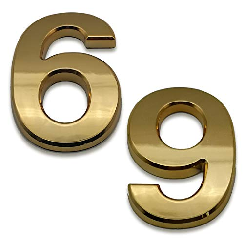 2 Pcs 4 Inch House Numbers 9, Self-Stick Gold Address Sign Number Stickers for (Mailbox Post, Apartment Door, Outside, Yard), Metal Shiny, by Sureyear.(4 Inch - NO.9, Gold)