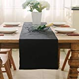 Dinning Short Table Runner Farmhouse Kitchen Coffee Burlap Table Runner for Holiday Party 12 x 36 Inches Black
