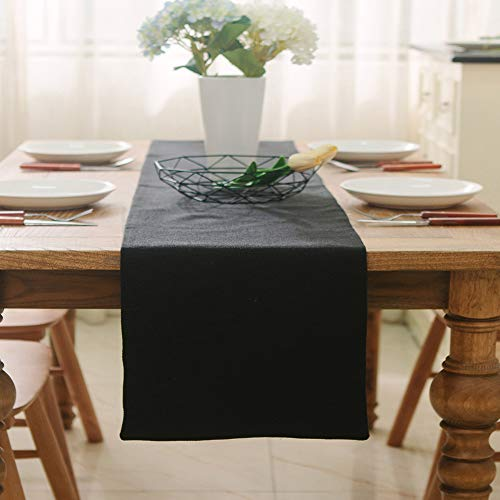 NATUS WEAVER Soft Caddice Faux Linen Table Runner 2 Piece Fabric in 1 for Kitchen Family Dinners or Gatherings, Indoor or Outdoor Parties, Everyday Use (12 x 72, Seats 4-6 People), Lilac