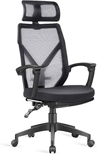 Dripex Bürostuhl mit Fußstütze Ergonomischer Stuhl, Schreibtischstuhl mit Verstellbarer Lordosenstütze, Kopfstütze und Armlehne, Drehstuhl bis 110 kg Belastbar