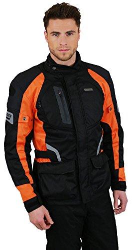 Nerve Chaqueta de Moto Touring Spark, Negro/Naranja, L