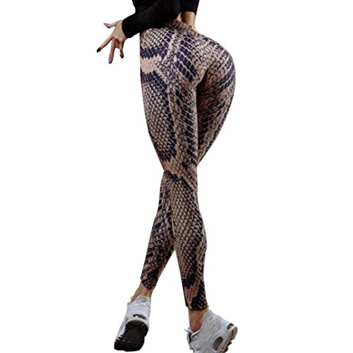 Zarupeng Leggings met slangenprint, dames sport gym yogabroek workout middwaist hardloopbroek slim fitness elastische joggingbroek sportlegging