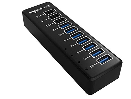 Amazon Basics - USB-Hub, USB-C 3.1 mit 10 Anschlüssen und Netzadapter - 65 W (20 V/3,25 A), Schwarz