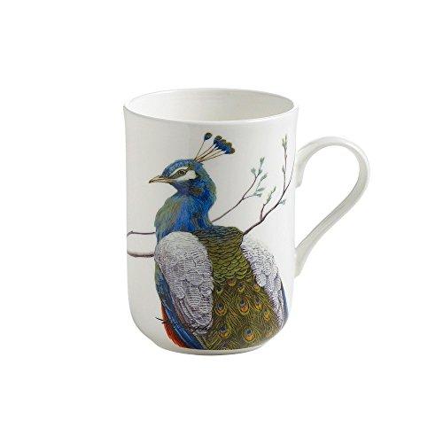Maxwell & Williams PBW1506 Birds of the World Becher, Kaffeebecher, Tasse mit Vogelmotiv: Pfau, in Geschenkbox, Porzellan
