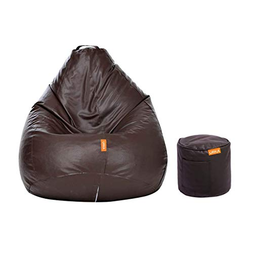 ORKA Classic XXXL with Footstool Bean Bag Cover Without Beans - Brown