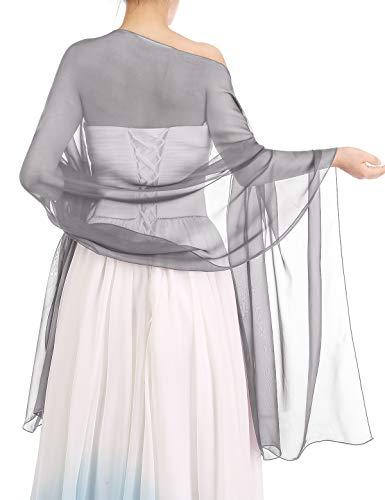 Bbonlinedress Schal Chiffon Stola Scarves in verschiedenen Farben Grey 180cmX72cm