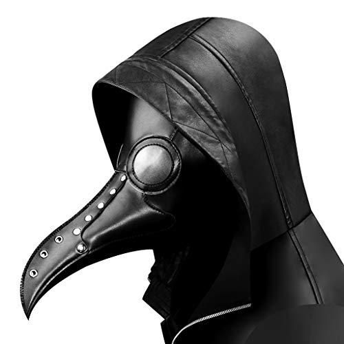 Baipin Máscara de Pájaro de Cuero Retro Cosplay Gótico de Steampunk, Máscaras de Cuervo Pico con Lente Negro para Fiesta de máscaras, Disfraz de Halloween