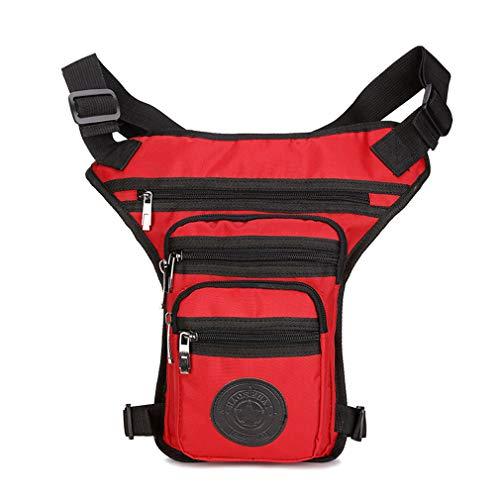Multifunktionale Beintasche Hüfttasche Wasserdicht Gürteltasche Herren Outdoor Sport Motorrad Fahrrad Tasche Messenger Bag für Reisen Radfahren Wandert Rote