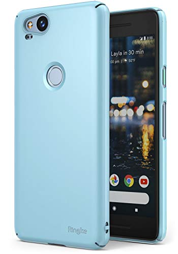 Ringke Slim Compatible with Google Pixel 2 Case Snug-Fit Slender Tailored Cutouts Lightweight, Thin Scratch Resistant Dual Coating PC Hard Skin Cover for Google Pixel2 - Sky Blue