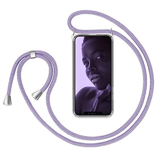 ZhinkArts Cadena para teléfono móvil compatible con Apple iPhone 11 – 6,1 pulgadas pantalla – Smartphone Necklace funda con banda – Cordón con funda para colgar en lila