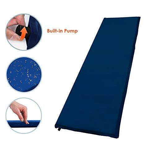 Hengda Selbstaufblasbare Luftmatratze, Selbstaufblasende Isomatte Schlafmatte Ultraleicht Kleines Packmaß - ideal für Wandern, Backpacking und Outdoor(200 * 66 * 10CM Blau)
