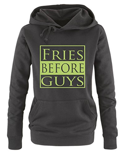Comedy Shirts - Fries Before Guys - Damen Hoodie - Schwarz/Grün Gr. M