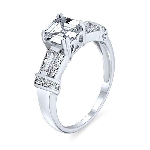 Bling Jewelry Estilo Art Deco 4Ct AAA CZ Cuadrado Corte Asscher Anillo De Compromiso Baguettes Acento Banda 925 para Mujer