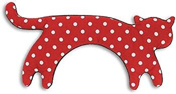 Leschi COUSSIN CHAUFFANT relâche les tensions de la nuque/bouillote pour micro-ondes/coussin en graines de blé pour femmes (cou, cervicales), enfants et bébés/Chat Minina, rouge à pois noir