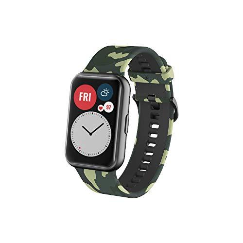 PaceBid Armband Kompatibel mit Huawei Watch Fit, Schnellverschluss Sport Ersatz Armband Silikonarmband Uhrenarmbänder für Huawei Watch Fit - ArmyGreen
