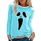 Xmiral Maglietta Camicetta da Donna con Stampa di Halloween Camicie O-Collo Manica Lunga Sciolto Top (M,Cielo Blu)