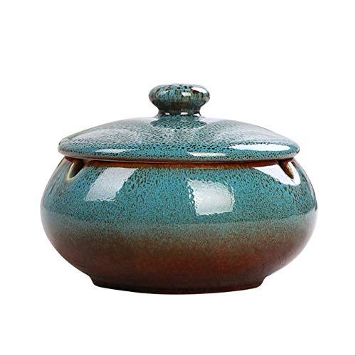 posacenere CDFSG Sigaretta di Fumo in Ceramica Portatile Ashtray Round con Accessori per Il Fumo del Coperchio 11 * 8cm Blu