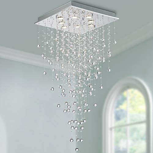 Bestier Modern Crystal Square Raindrop Chandelier Lighting Flush Mount LED Ceiling Light Fixture product image