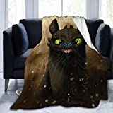 FT FENTENG Flannel Fleece Throw Blanket for All Season Living Room Picnic, Ultra Soft Train Dragon Toothless Green Eyes Moving Blanket, Thick Better Relaxing 50 x 40 Inch