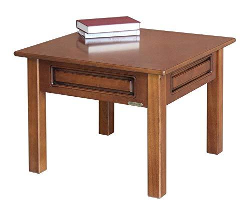 Arteferretto Tavolino Basso da Salotto Soggiorno, Forma Quadrata, Colore ciliegio, Stile Classico, Direttamente dal Produttore. L. 61 x P. 61 x H. 46 cm