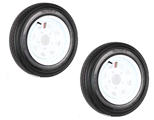 2-Pack Trailer Tire On Rim 4.80-12 Load C 5 Lug White Spoke Wheel 30660