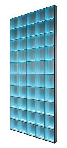 Light My Wall® - beleuchtete Glassteinwand - DIY KOMPLETTSET - Breite x Höhe: 97,5x195 cm – Riva Weiß 1-seitig satiniert 19x19x8 cm Beleuchtung: Bunt(Farbwechsel), Abschlussprofil: Alumnium satiniert - Raumteiler Duschabtrennung Theke Bar - individuell einsetzbar