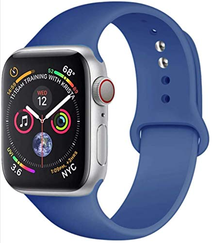 MAPPE Cinturino in Silicone per Cinturino Apple Watch 38Mm 42Mm per Cinturino Iwatch 44Mm 40Mm Cinturino Sportivo Cinturino Correa per Apple Watch 5 4 3 2 1 Accessori, Blu Delft, 42Mm 44Mm SM